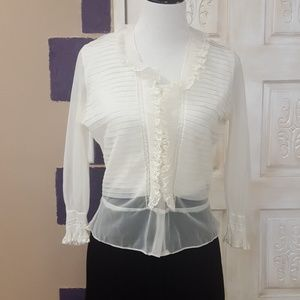 Vintage sheer blouse with ruffles
